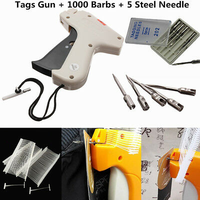 Tagging Gun Garment Price Label Tag Barbs Needles swing Tags 1000 Barbs 5 Needle