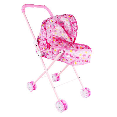 Baby Pink Push Cart Portable Pushchair Doll Trolley Accessory Kids Toys