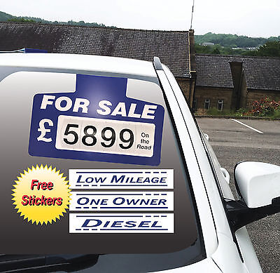 5 X For Sale Visor Price Sets, Car For Sale Sign, +3 Free Stickers Blue
