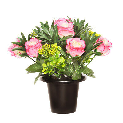 Grave Pot Artificial Open Rose With Berries 25cm Pink