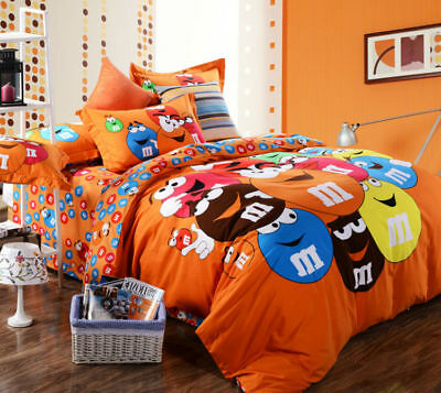 M & M Cartoon QUEEN SIZE ORANGE Color BED SHEET 4PCS COTTON Bedding SET