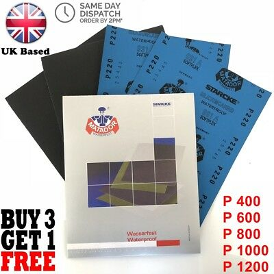 Wet and Dry Sandpaper MIXED ASSORTED MATADOR Grid Pack 400 600 800 1000 1200