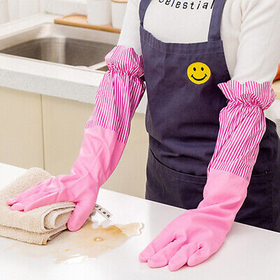 Household Rubber Dish Washing Gloves Long Cuff Cleaning Velvet Lining Gloves