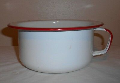 Vintage White w/ Red Enamelware Bed Pan Chamber Pot w/ Handle +faux fur insert