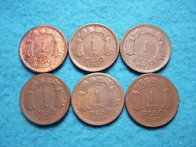 (6) 1942, 1943, 1944, 1945, 1951s, 1953 Peso Chile Coin Lot.