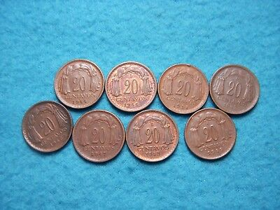 (8) 20 Centavos, 1942-1947, 1949, 1951, Chile Coin Lot.