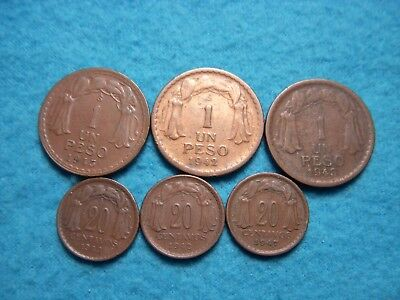 (6) 1942, 1943,1947, 20 Centavos & 1942,1943, 1945 Peso Chile Coin Lot.