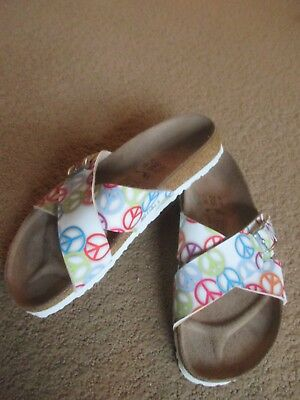 0c4233b2e44b Womens Birkenstock Birkis Peace Sign Mule Buckle Sandal Shoes 7 New