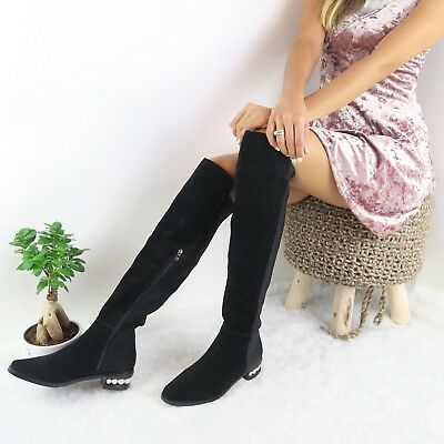 c387d25a329 Catherine Malandrino NEW Women s Size 8 Pasta Faux Pearl Over-The-Knee Boot   260