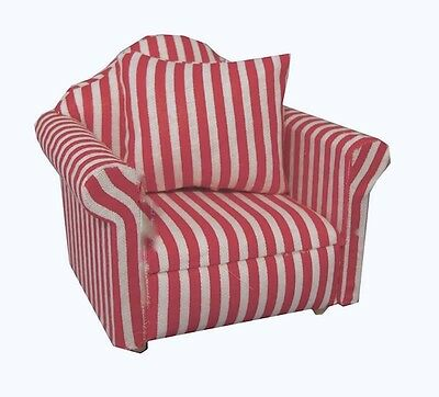 RED & WHITE Striped Sofa Chair, Dolls House Miniature, Furniture Miniatures