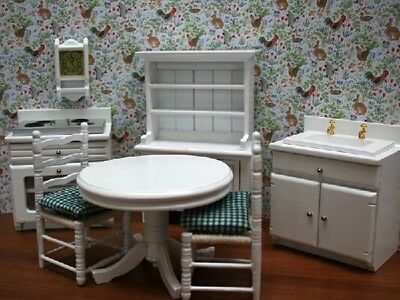White Kitchen Furniture Set, Dolls House Miniature, Room Set 1.12 Scale 1/12th
