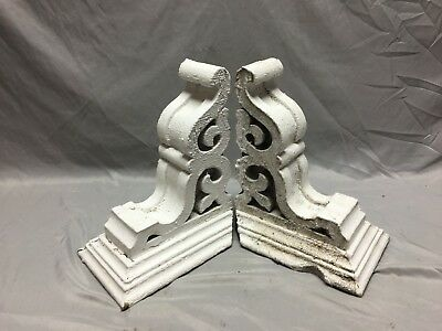Pr Antique White Roof Corbels Shelf Brackets Shabby Vtg Chic Cornice 7-19M