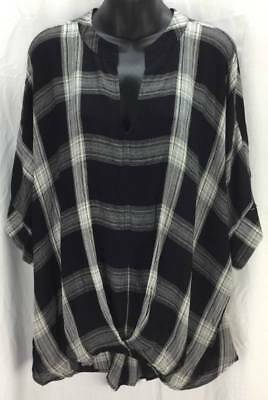 151913f7c9d Universal Thread Blouse New Womens Plus 2X Plaid Black Gray 3 4 Sleeves 3921