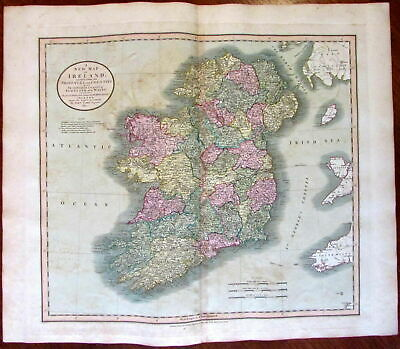 Ireland 1811 John Cary lovely large old map beautiful hand color