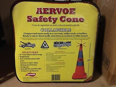 "AERVOE 28"" Collapsible Safety Cone w/ Red LED Light (1191)"