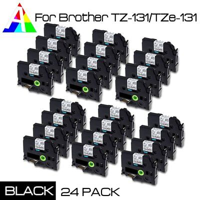 """TZe-131 TZ131 Black on Clear Label Tape Compatible new PTouch Tape 1/2"""" 24PK"""