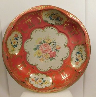 """Vintage. Daher Decorated Ware Red w/Flowers 1971 Tin Round Bowl England 10"""" (A)"""