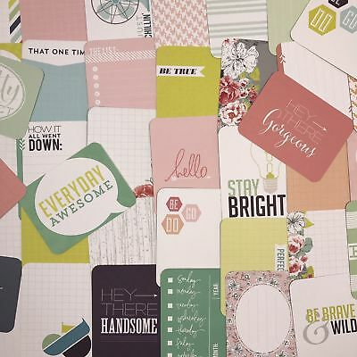 45 Project Life Cards 3x4 September Skies Flowers Quotes Scrapbooking Journaling