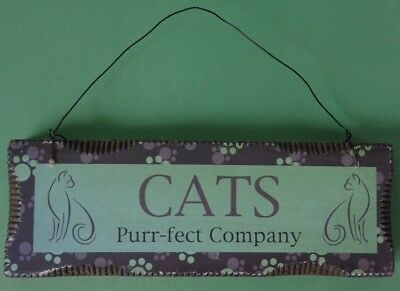 Cats Purr-fect Company Hanging Wooden Sign Wall Plaque ~ FREE SHIPPING