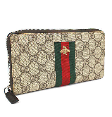 08dd4004d4689c Gucci Sherry Line GG Supreme PVC Leather Long Wallet Webbing Bee 408831  #44007