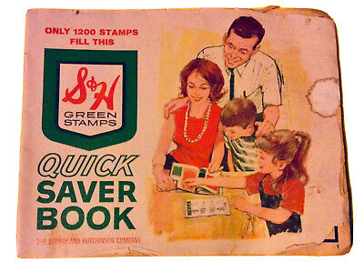 S&H GREEN STAMP QUICK SAVER BOOK FILLED w/STAMPS VINTAGE 1960s/70s FREE SHIPPING
