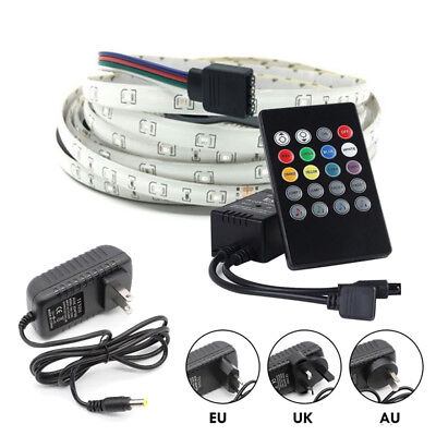 5m 3528SMD RGB LED Strip Lights Waterproof Tape+Music Control+12V Power Lighting