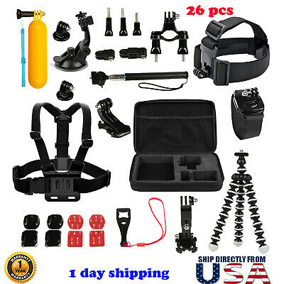 26 in1 Accessories Kit Head Chest Monopod Mount Fit For GoPro Hero 3/4/5 Session