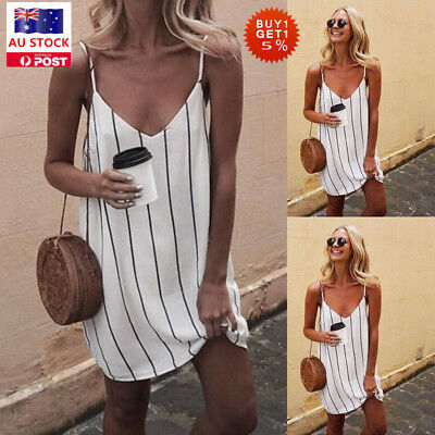 Women Sleeveless V Neck Mini Dress Ladies Striped Party Beach Holiday Sundress