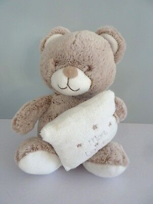G11- MON DOUDOU OURS TEX MUSICAL BEIGE CHINE COUSSIN OREILLER 19 cms  assis TTBE