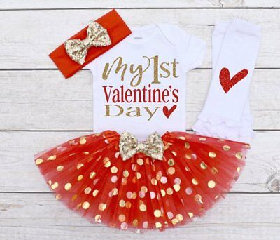 Lovely Baby Boy Girl 4pcs Clothes My 1st Valentine's Day Romper Skirt Outfits US