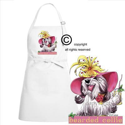 Bearded Collie Dog Breed Cartoon Caricature Tropical Drink Kitchen Chef Apron