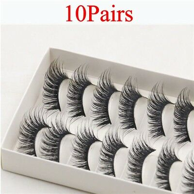 10Pairs Natural 100% 3D Real  Mink Hair Thick False Eyelashes Strip Lashes CA