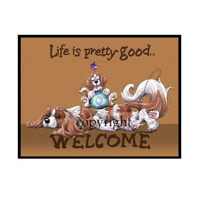 Cavalier King Charles Spaniel Dog Life Is Good Artist Doormat Floor Door Mat Rug