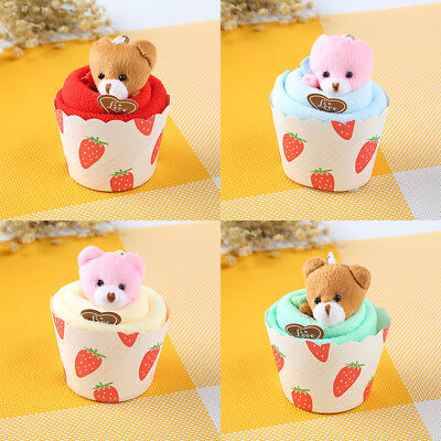 F0A5 Bear Cup Cake Towel Face Party Gifts Superfine Fibre Home Random Color