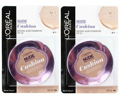 2 x LOREAL NUDE MAGIQUE FOUNDATION CUSHION BEIGE 09 - ALL NEW
