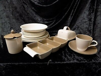 Vintage Poole pottery mushroom and sepia twin tone replacement items