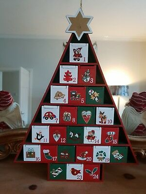Wooden Tree Shaped Christmas Advent Calendar Decoration with Drawers Red White