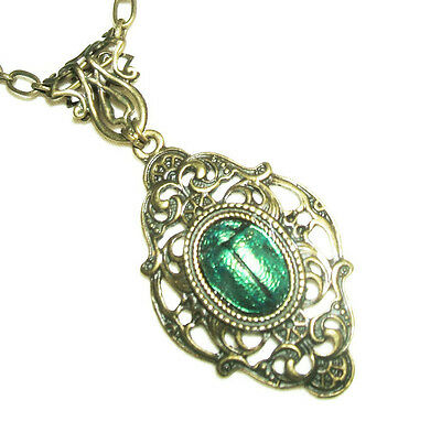 Victorian SCARAB Necklace Bronze Plt EGYPTIAN REVIVAL Metallic Green Beetle