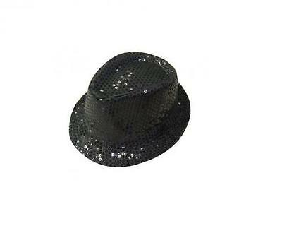 Unisex Fedora Trilby Sequin Gangster Glitter Top  Hat With Bow Tie Fancy Party