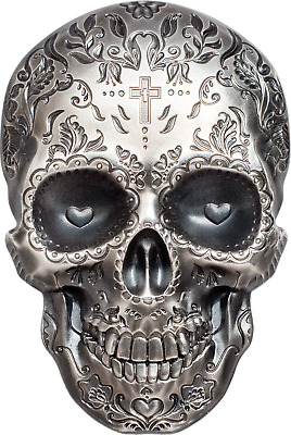 2018 $5 Palau La Catrina Skull Antique Finish 1 oz. .999 Silver Coin