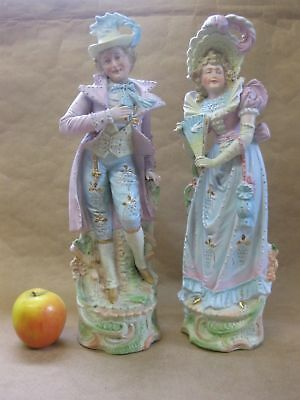 Pair of Large Antique Continental Bisque Porcelain Figures ~ Lady & Gentleman