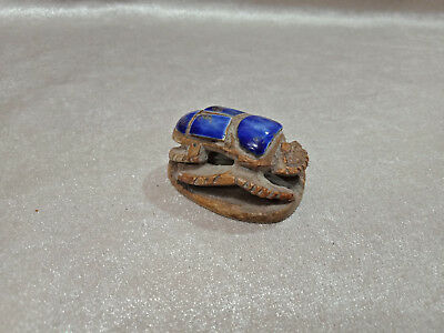Glazed Scarab Royal Beetle Figurine Egyptian Antiques Rare Faience