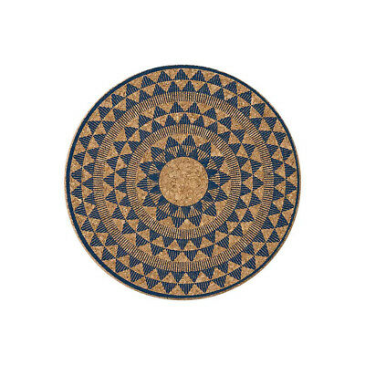 Ladelle Selena Navy Printed Round Cork Trivet Pan Pot Rest Stand Modern Print