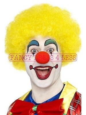 Men's Yellow Clown Wig & Red Nose Circus Ronald MacDonald Fancy Dress Stag Afro