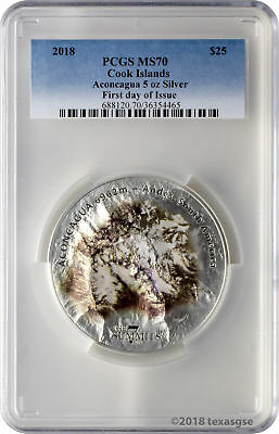 2018 $25 Cook Islands 7 Summits Aconcagua 5oz .999 Silver Coin PCGS MS70 FD