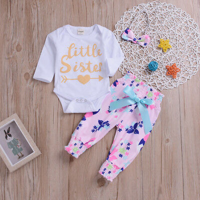 Toddler Infant Baby Girl Letter Floral Print Romper Trousers Outfits+Headband EL