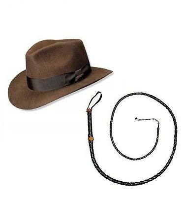 Mega/_Jumble Indiana Jones Style Brown Explorer Hat and Bull Whip Fancy Dress Accessories