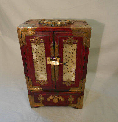 Antique Chinese rosewood jewelry box carved jade w brass panels & drawers  c1900