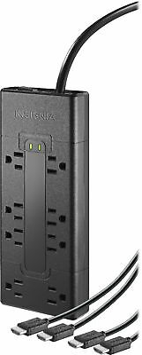 Insignia- 8-Outlet Surge Protector with Two 84K UltraHD/HDR HDMI Cables -...