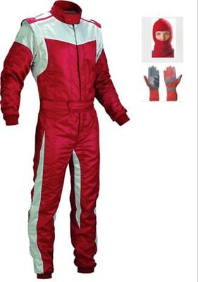 New Black and White Go Kart Race Suit Pack with free Gift Gloves & Balaclava